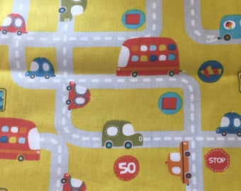 Cars and Road Fabric, Boy Fabric, Cars Driving Fabric Quilting Cotton
