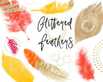 Chic Feather Clip Art | Digital Feathers | Glitter Feather Clip Art | Graphic Design | Orange Yellow Gold Fuchsia Glitter | Vector | PNG