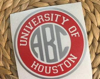 University of Houston Monogrammed Vinyl Decal