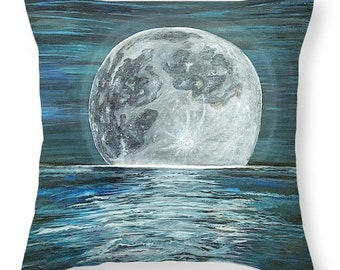 Moon Shadow Decorative Pillow 14x14 - from original painting