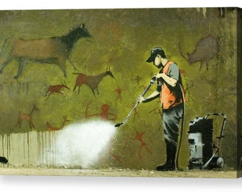 """Banksy """"Erasing History"""" Canvas Box Art A4, A3, A2, A1 ++"""