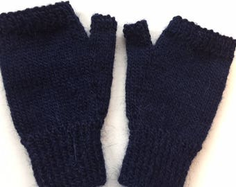 Hand knitted fingerless mitts in rowan creative focus worsted - size L