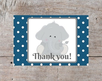 Baby Thank You Cards, Elephant Card, Cute Thank You Cards, Baby Shower Thank You, Thank You Cards, Elephant Thank You Cards