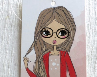 100 PRICE TAGS HANG Tags Retail Tags Boutique Tags Cute  Red Sweater Girl  Clothing Tags With 100 Plastic Loops