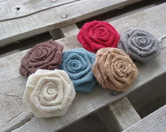 "Set of 10 Burlap Rosettes 2.5"", Choice of Various Colors Burlap Roses, Rustic/Shabby Chic Wedding, Handmade Rustic Flowers, DIY Bulk Flowers"