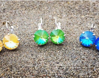 SELECT YOUR COLOR 12mm Swarovski crystal drop earrings with a lever-back