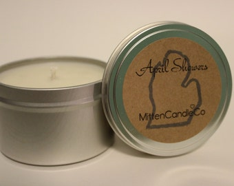April Showers Scented Soy Candle Tin or Wax Melt - Calming - Spring & Summer Fresh Scent - 4 or 8 ounce