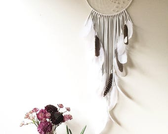 "White Leather Dream Catcher 10"" x 30"". Handmade. Wall hanging."