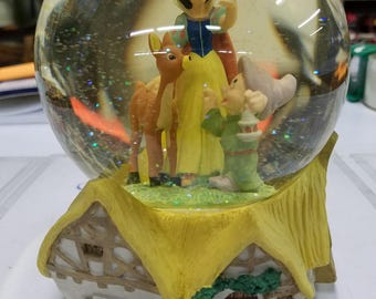 """Vintage Disney Snow Whitew with Dopey & Bambi inside glitter snowglobe plays the tune """" Someday my prince will come"""""""