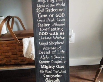 Hand Painted NAMES of JESUS Sign - Christian Sign - Religious Sign - Prince of Peace - Redeemer - Lamb of God - Christ Jesus - King of kings