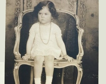 Two (2) Antique Vintage B & W Photograph Portrait Little Girl Seated in Chair 5x7 Sepia