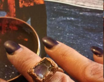 Bohemian//Amethyst Ring//Electroformed//Patina//Copper Age