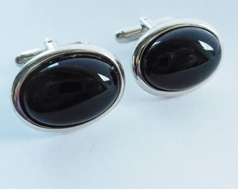 Black Onyx Cuff Links, Silver and Black Oval Cufflinks, Oval Cuff Links, Wedding Links, Gifts for Men