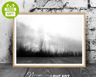 Black and White Landscape, Photo Fog, Forest Print, Landscape Print, Black and White Print, Modern Minimalist, Black White Photography