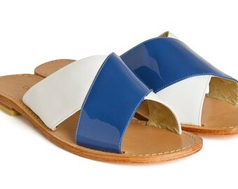 Handmade Leather Sandals - Ellen blue - Free shipping