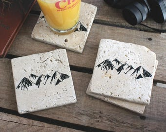 Mountain Stone Coasters, Naturalist Coasters, Tumbled Stone Coasters, Gifts for Hikers, Stone Coasters, Mountain Coasters, Adventure Coaster