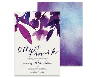 Purple Wedding Invitation | Mikah | Printable DIY Invite, Affordable Wedding Invitation | Purple Leaves, bright and modern watercolor