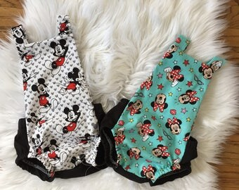 Minnie Mouse Or Mickey Mouse Romper - Minnie mouse Romper- Vintage Romper - MInnie Mouse Birthday outfit, Mickey Mouse Birthday outfit
