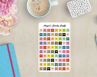 Large Heart Flags Functional Planner Stickers