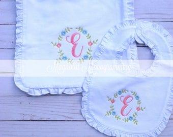 Monogrammed Burp Cloth and Bib Set