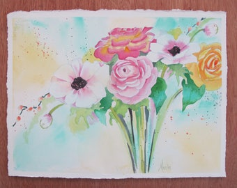 Pink Poppy and Roses Floral bouquet Original Watercolor Painting 10x14