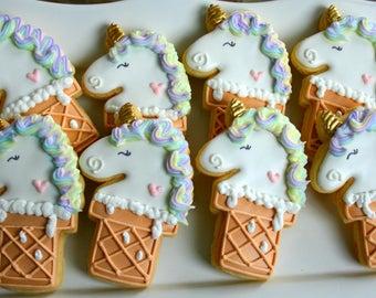 Unicorn Ice Cream Cone Cookies-Unicorn Cookies, Pastel Unicorn Cookies, Unicorn Birthday Cookies
