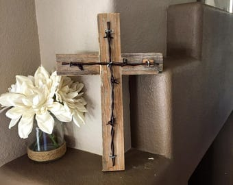 Rustic Wooden Cross Decorative Cross Religious Cross Reclaimed Wood Home Decor Wall Hanging
