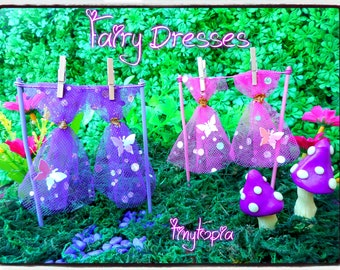Handmade Pink or Purple butterfly fairy dresses! Washing Line and Pegs included.
