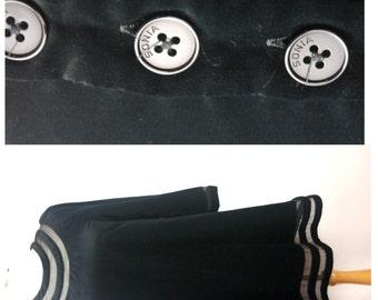 vtg SONIA RYKIEL black velvet and silk mesh A Line LBD dress