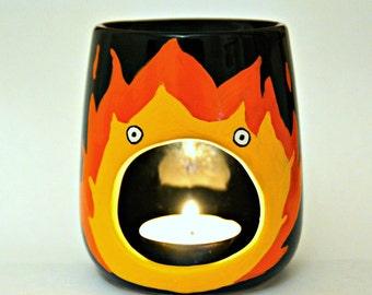 Calcifer Candle Holder - Studio Ghibli - Birthday - Girlfriend - Boyfriend -  Howls Moving Castle - Oil Burner - Wax Melt - Tea Light - Gift