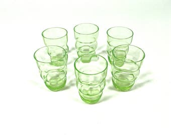 Set of 6 Vintage Shot Glasses Liqueur Light Green Thin