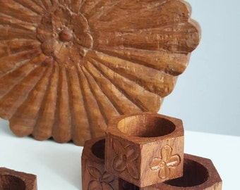 Set of 7 hand carved wooden napkin rings with box from India