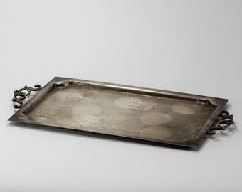 small tray, Vintage Silver-Plated Serving Tray, Footed Tray, Hand-made silver-plated, antique tray, vintage home, vintage kitchen