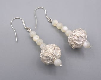 Creamy mother of pearl earrings , decorated silver bead, long earrings, 925 silver