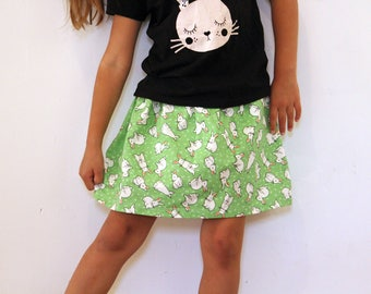 Easter Bunny skirt/ Easter skirt/Bunny skirt/Bunnies on the lawn/Linen skirt
