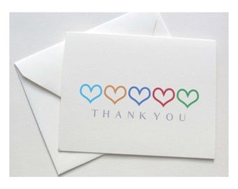 Rodan and Fields Thank You Foldover Card - Colored Hearts Outline