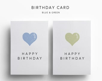 4 Happy Birthday Greeting Cards - Birthday Card Set - Blue, Green, Pink, Purple - Heart - Digital Greeting Cards - Minimalist - Modern Cards