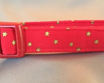 Red w/Gold Stars Dog Collar