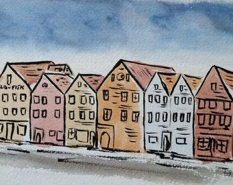 Bergen Five, Ink and Watercolour Landscape Painting, Bergen, Norway, Art