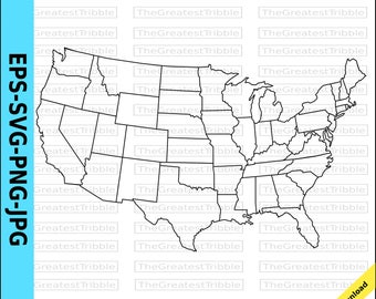 Us Map Etsy - Us map eps