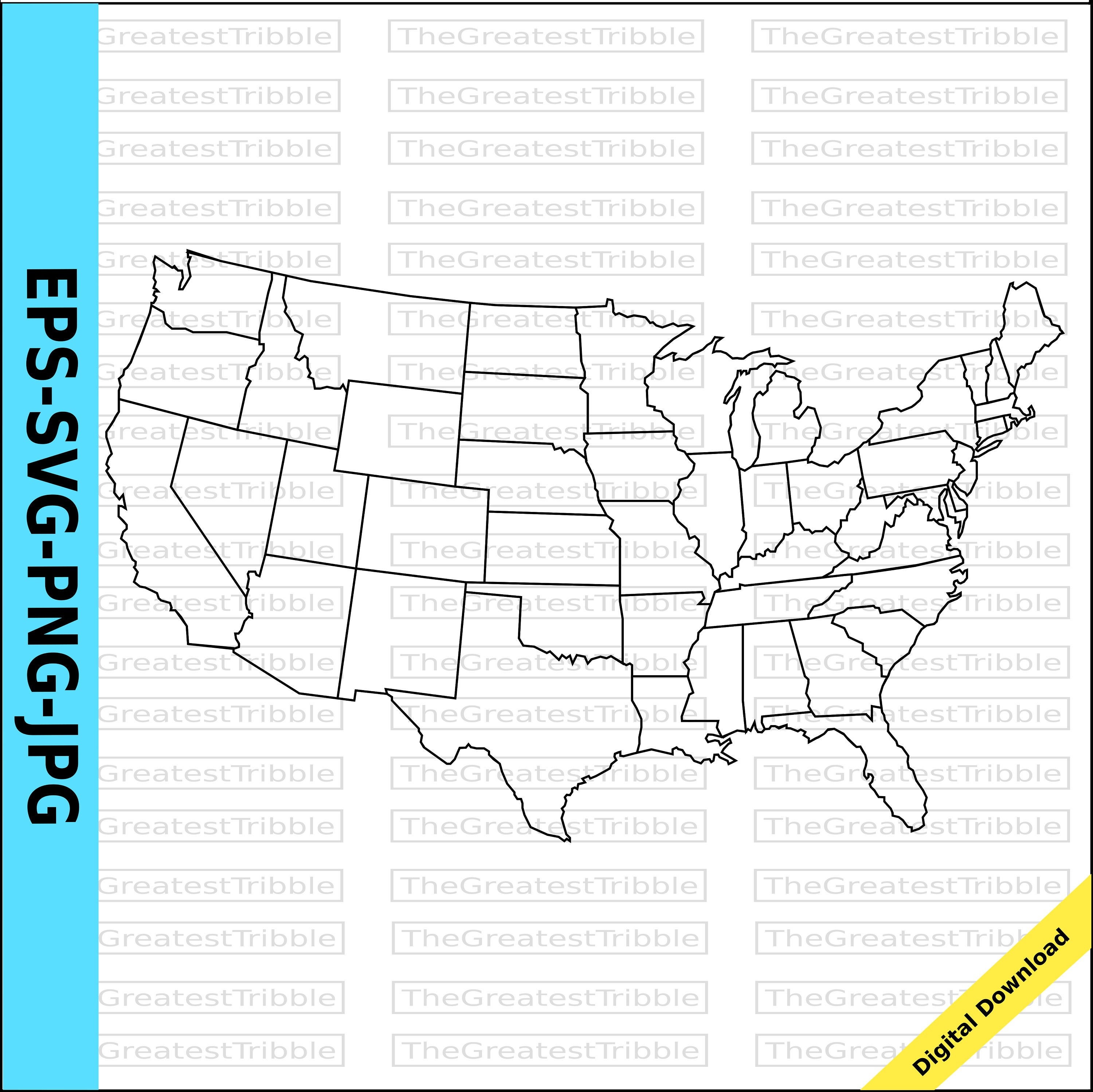 US Map United States Map State Outlines Transparent Background