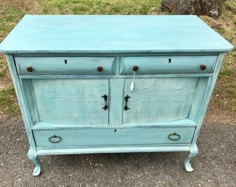 Robin's Egg Blue Antique Country French Provincial Buffet Server