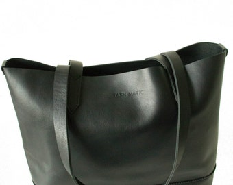 SAMPLE SALE | Harlow Tote | Black Leather Tote Bag | Handmade Leather Carry All