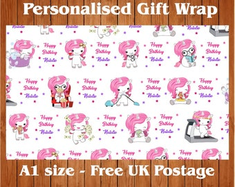 """Personalised Unicorn Wrapping Paper with 2 Tags.  """"Modern Day Uni""""."""
