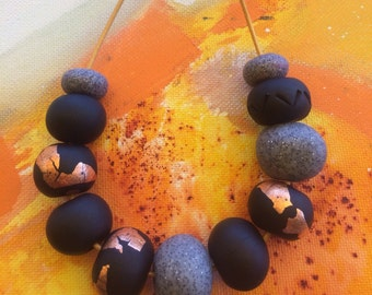 Hand made poymer clay necklace - black, copper and grey