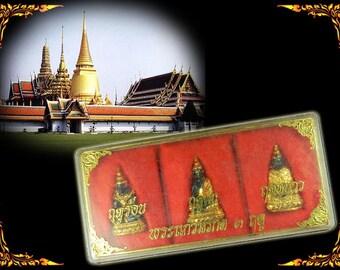 3 Seasons of Phra Kaew Morakot Thai Buddha Amulet, Vintage Buddha Set,  Phra Kaew Triple Emerald Buddha, temple box #