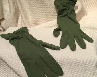 Vintage green nylon wrist gloves by Kayser