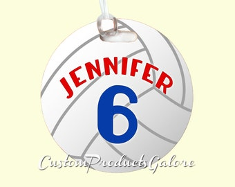 Volleyball Bag Tag, Round Sports Bag Tag, Luggage Tag, Volleyball Team Gift, Player Gift, Athlete Gift, Youth Sports Bag Tag, Gym Bag Tag
