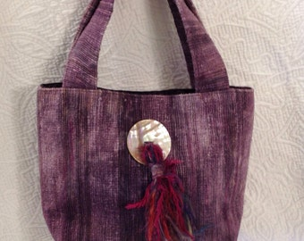 Purse   ON SALE  hand dyed silk purse with mother of pearl and tassell embellishement
