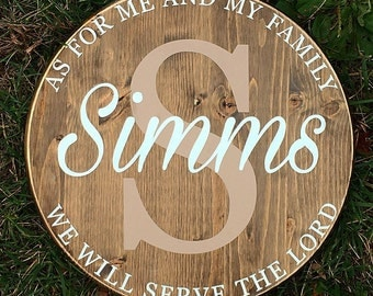 As for me and my family we will serve the Lord, family established sign, wedding gift, anniversary gift, foyer decor